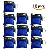 Pack of 10pcs Blue CPR Mask Keychain Ring Emergency Kit Rescue Face Shields with One-Way Valve Breathing Barrier for First Aid or AED Training