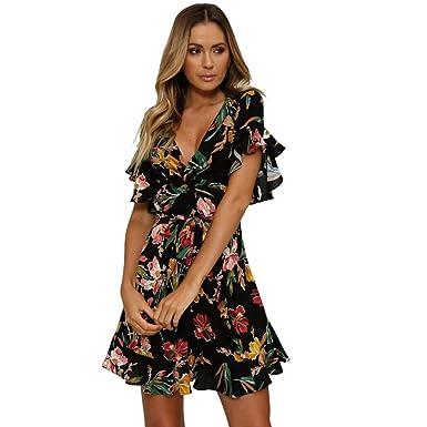 78b4c8bb07e73b Hmeng Frauen Sommer Blumenkleid Mini V-Ausschnitt Kurzarm Party Cocktail Kleid  Volant Gefaltet (Schwarz
