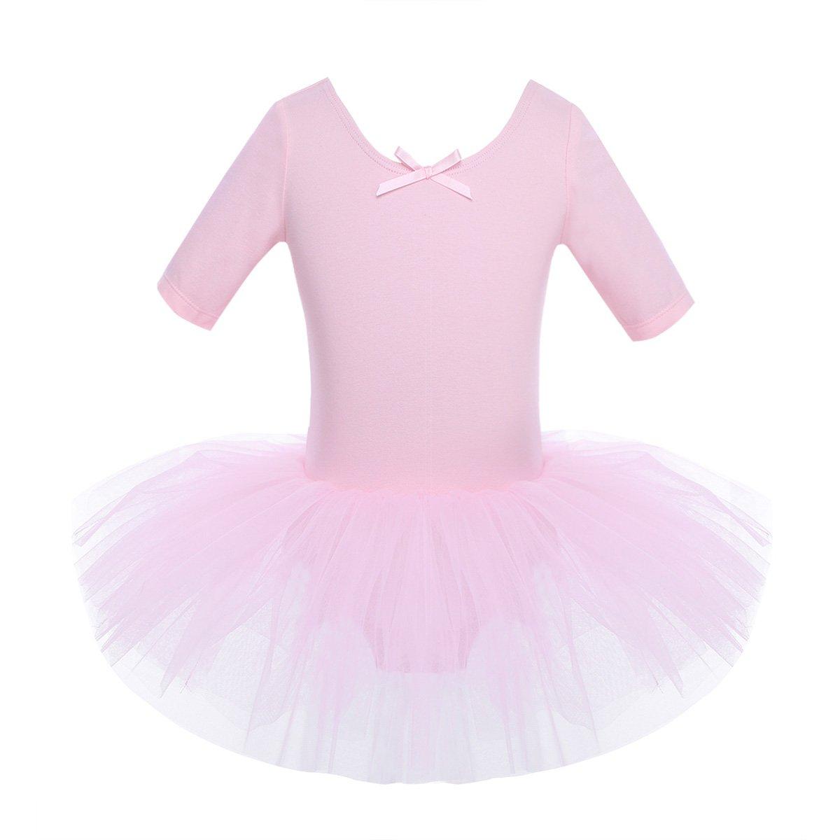 iEFiEL Kids Girl's Short Sleeved Gymnastics Ballet Dance Leotard Dress Cross Back Tutu Skirt