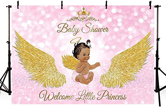 AOFOTO 7x5ft Gold Wings Baby Girl Birthday Backdrop Little Angel Crown Glitter Pink Bokeh Dots Baby Shower Photoshoot Background Infant Baptism Christening Photo Studio Props Vinyl Cusotmizable