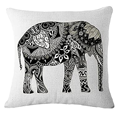 Butishop Linen Cute Elephant Cotton Decorative Throw Pillow Case Cushion Cover,17  x 17  3299#