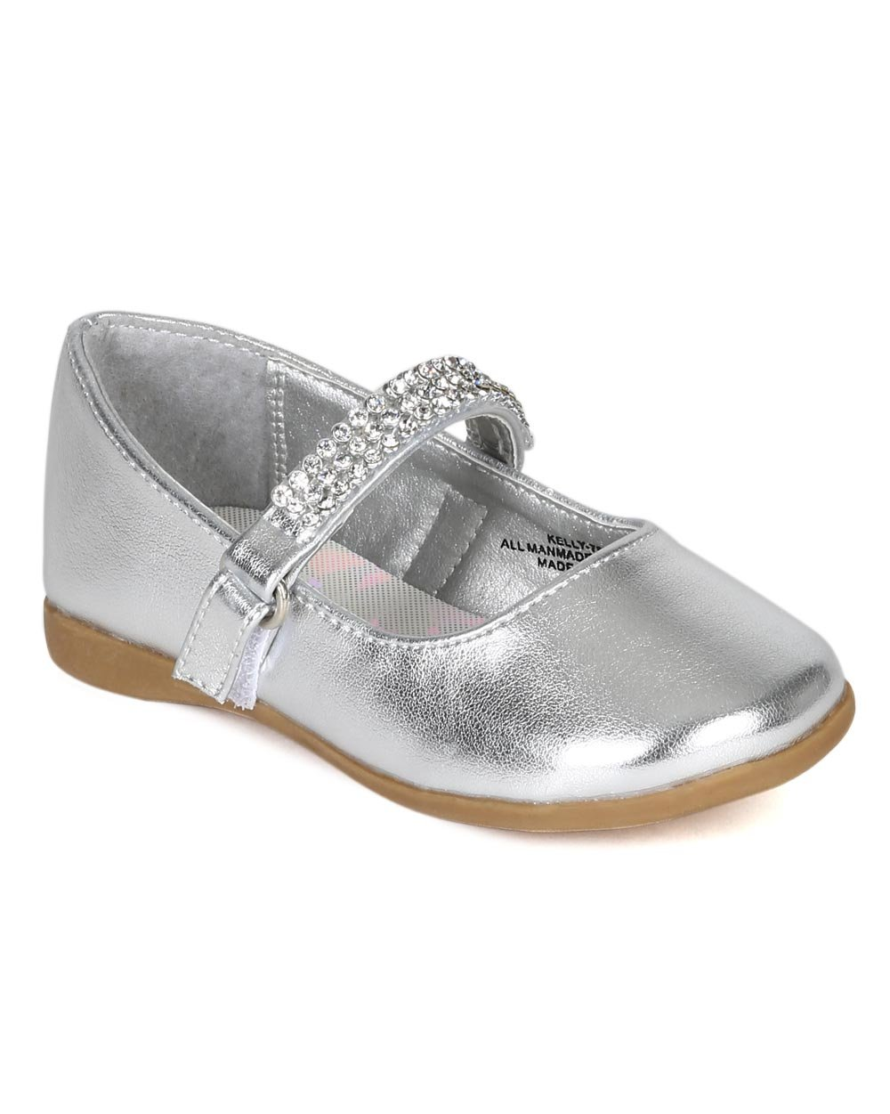 Metallic Leatherette Round Toe Rhinestone Mary Jane Ballerina Flat (Toddler/Little Girl) CA07 - Silver (Size: Toddler 6)
