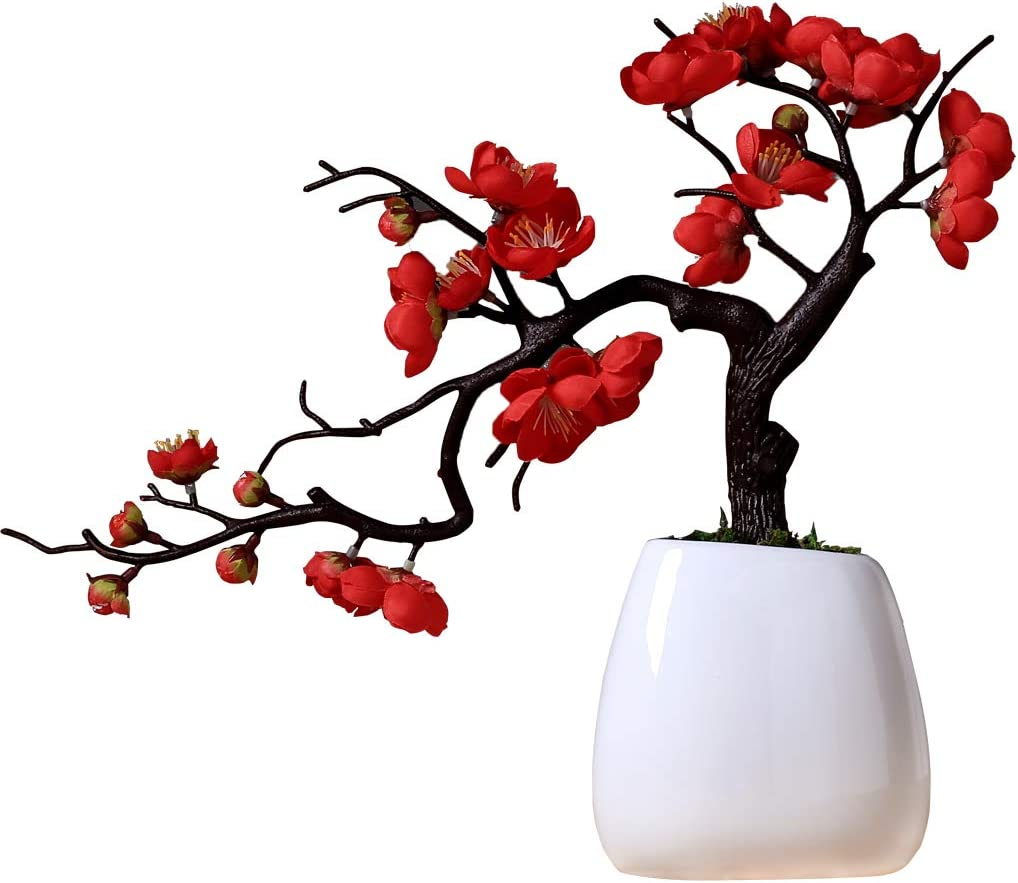 Artificial Flowers with Vase,Faux in Plum Blossom Peach Blossom Chinese Flower Arrangement, Office Decoration Flower Faux, Home Decor Potted Plant (Red)