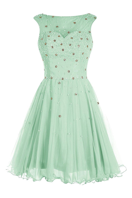 Bbonlinedress Mini Open-Back Beading Tulle Chiffon Homecoming Cocktail Dress