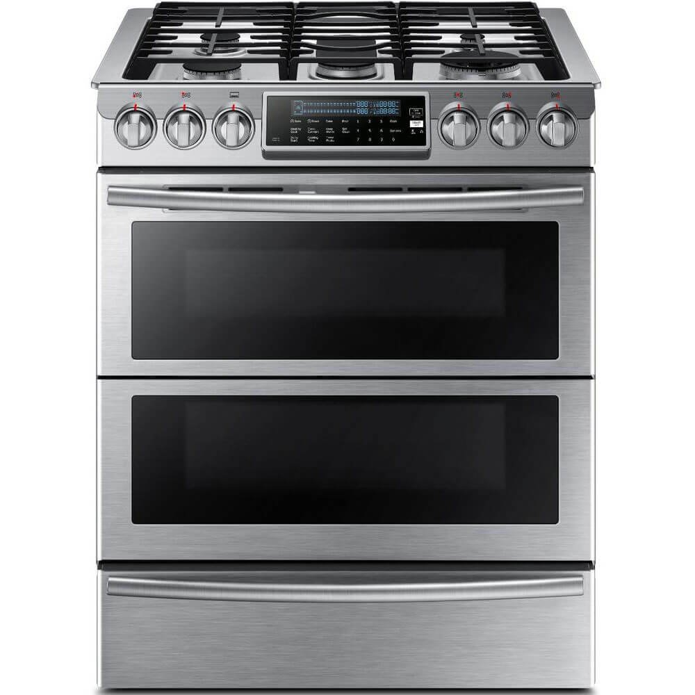 "Samsung Appliance NY58J9850WS 30"" Slide-in, Dual-Fuel Range with 5 Gas Burners in Stainless Steel"