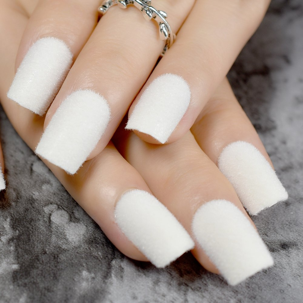 Amazon.com : Warm Velvet Fake Nails White Matte Acrylic Nails Flocking Velvet Flocking Powder Decoration False Nail Art Z796 : Beauty
