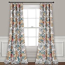"Lush Decor Syndney Room Darkening Window Curtain Panel Pair, 84"" x 52"", Blue and Yellow"