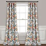 Lush Decor Sydney Curtains | Floral Garden Room Darkening Window Panel Set for Living, Dining, Bedroom (Pair), 84' x 52', Blue and Yellow, L, Blue & Yellow
