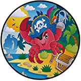 Printing Round Rug,Pirate,Cute Cartoon Crab with Eye Patch Pirate Hat Hook Pegleg Deserted Island Coast Jungle Decorative Mat Non-Slip Soft Entrance Mat Door Floor Rug Area Rug For Chair Living Room,M