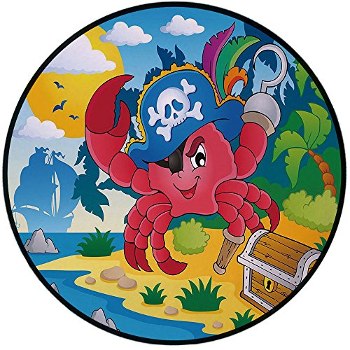 Printing Round Rug,Pirate,Cute Cartoon Crab with Eye Patch Pirate Hat Hook Pegleg Deserted Island Coast Jungle Decorative Mat Non-Slip Soft Entrance Mat Door Floor Rug Area Rug For Chair Living Room,M by iPrint