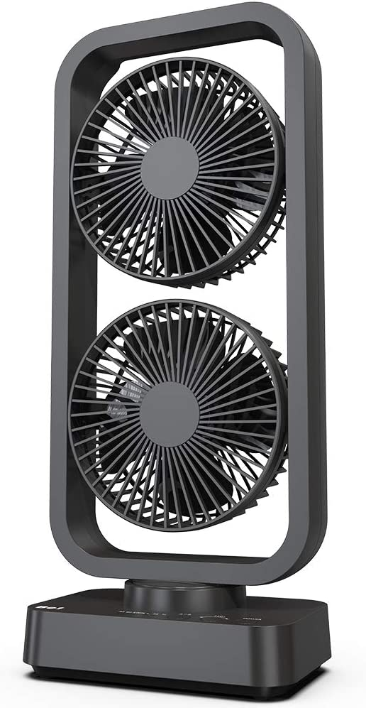 OPOLAR 2019 New Battery Operated Oscillating Tower Fan, 3 Speeds Dual Motor, Quiet, Powerful, 3-12H Working Hours, Fast Charge, for Home, Hiking, Travel, Camping and Outdoor Activities-16 Inch