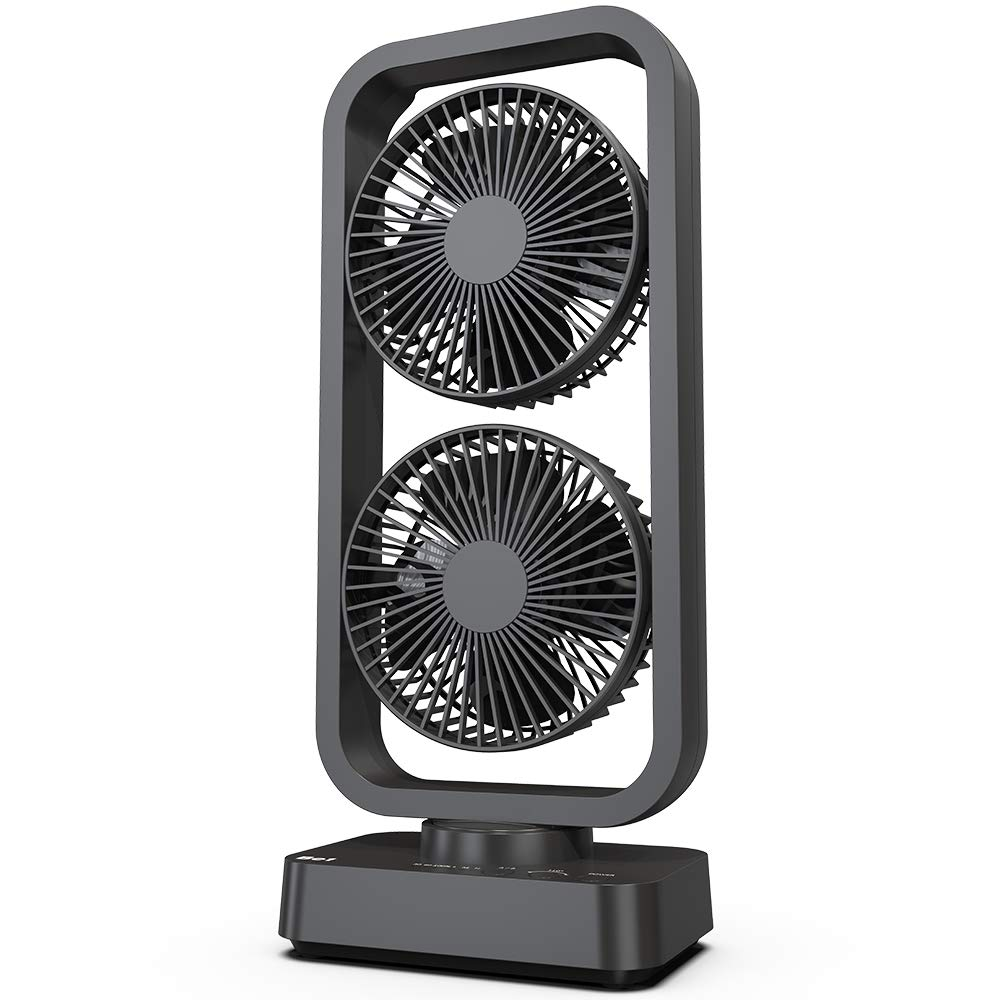OPOLAR [2019 New] Battery Operated Oscillating Tower Fan, 3 Speeds Dual Motor, Quiet, Powerful, 3-12H Working Hours, Fast Charge, for Home, Hiking, Travel, Camping and Outdoor Activities-16 Inch
