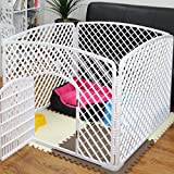 4-Panel (approx 24-inch Height) Indoor/Outdoor Plastic Dog Puppy Pet Fence Playpen Play and Exercise Pen Kennel Crate Cage, White (4 Panels) _ SaveOnMany ®