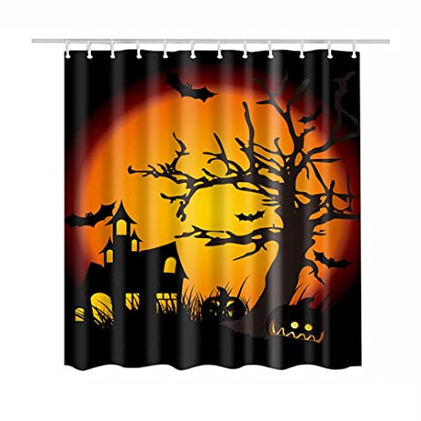 hoomall halloween moon castle raven tree decorative waterproof muilt function fabric shower curtain 70x70 inches