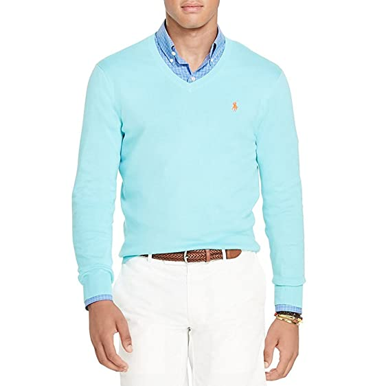 Polo Ralph Lauren Men's Slim Fit V-Neck Pima Cotton Pullover Sweater, Blue,