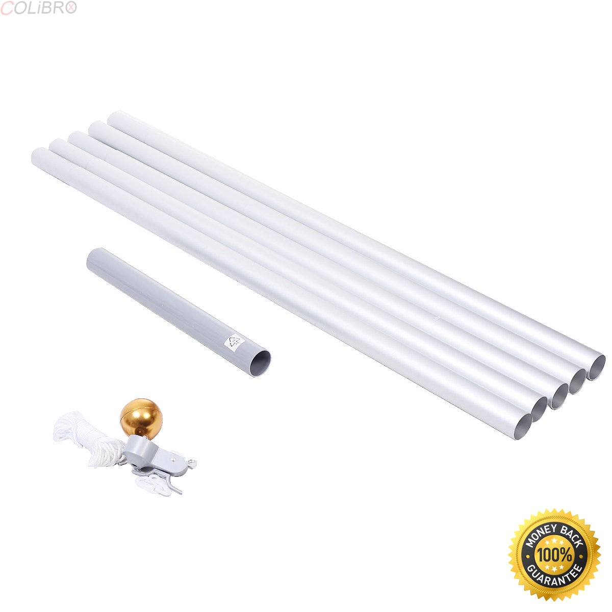COLIBROX--20ft Aluminum Sectional Flagpole Kit Outdoor Halyard Pole + 1PC US American Flag,commercial aluminum flagpoles,20 ft commercial flagpole,home depot flagpole,Aluminum Sectional Flagpole,Flag