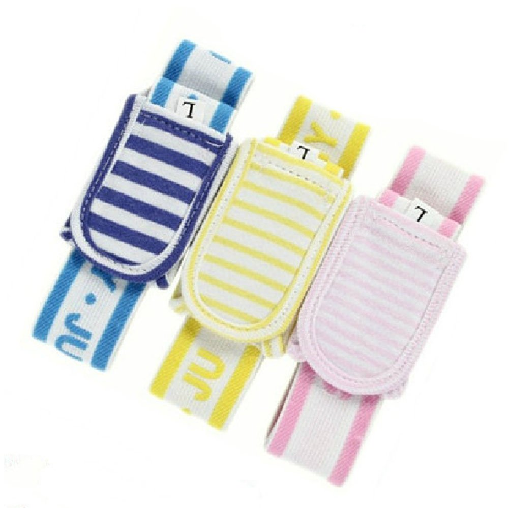 3Pcs Lovely Stripes Newborn Baby Diaper Fasteners Infant Nappy Fixed Belt, Random Color by PANDA SUPERSTORE