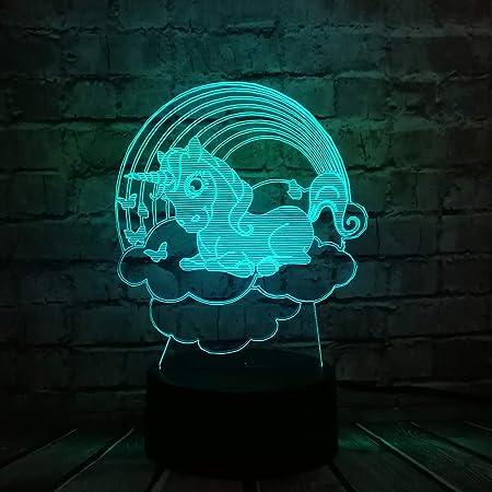 XIONGXI Lámpara de Noche lámpara de Mesa Nube Unicornio luz 3D ...