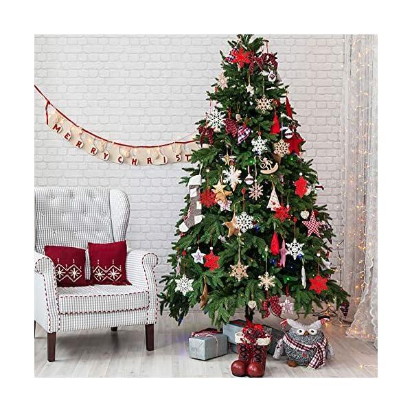 MELLIEX 18 Pezzi di Natale in Legno con Fiocchi di Neve Ornamenti, 3 Colori Albero di Natale Appeso Decorazioni Ciondolo, Natale Artigianato in Legno Abbellimento con Spago 5 spesavip