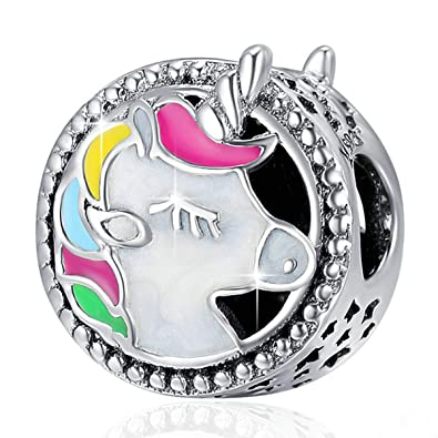 9ecfe67c1 Forever Queen Unicorn Charm for Pandora Charms Bracelet, Round Shape  Genuine 925 Sterling Silver Colorful