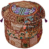 Stylo Culture Bohemian Footstool Vintage Fabric Patchwork 18'' Embroidered Ottoman Stool Pouf Cover Brown Floral Ottoman Furniture Living Room Pouf Case