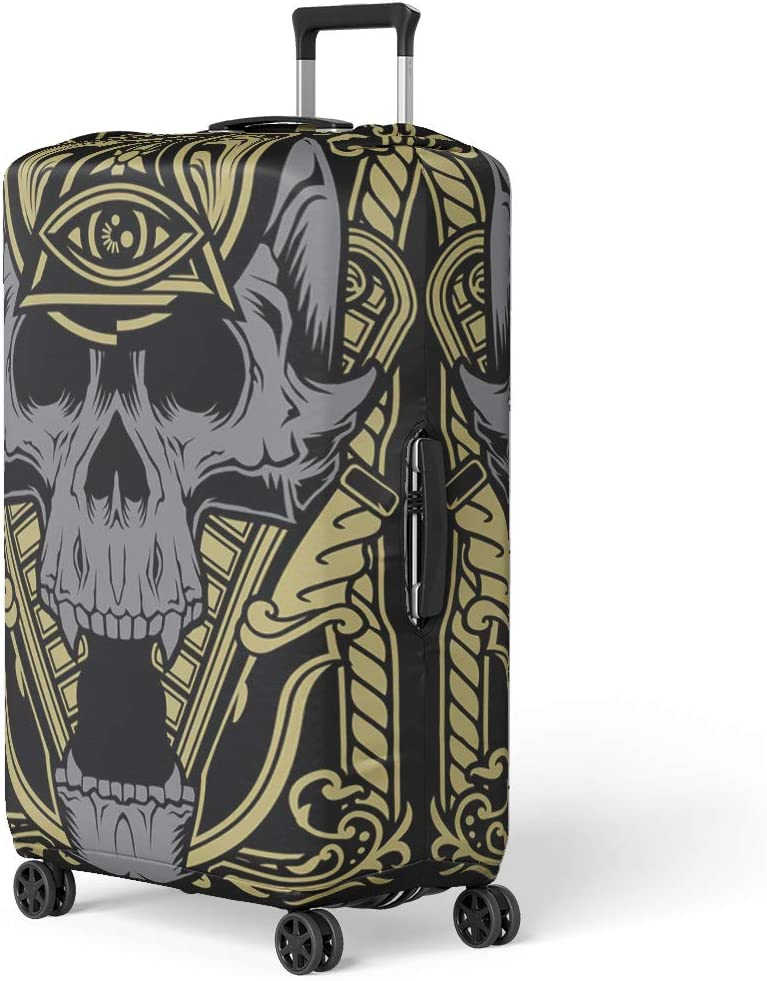 Pinbeam Luggage Cover Skull Tattoo Graphics Digital Human Concert Rocker Heavy Travel Suitcase Cover Protector Baggage Case Fits 18-22 inches