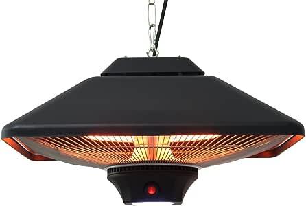 HOMCOM Outsunny Estufa Colgante de Techo Tipo Calefactor Eléctrico Radiante Halógeno para Interior y Exterior 1000/2000W con Control Remoto 43x43x25cm: Amazon.es: Hogar