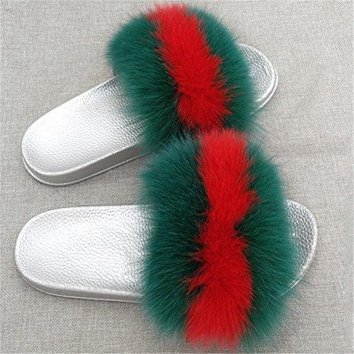 MSFS pour Faire green Femmes Glisser Multicolore Fourrure Pantoufles Souples Plume Sandales de Open Toe Tongues qrazq5n