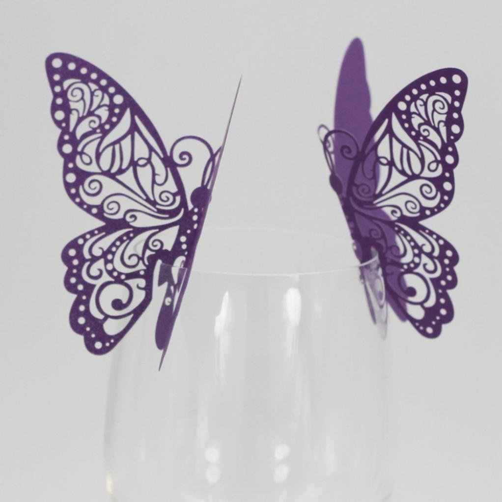 Exteren New 50 Pcs Butterfly Wine Glass Paper Card for Wedding Party White Water Cup Water Bottle Water Mug Flask (Purple)