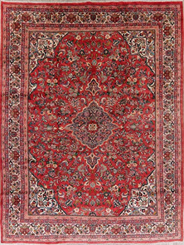 Vintage Sarouk Persian Area Rug 10X13 Floral Hand-Knotted Oriental Wool Carpet