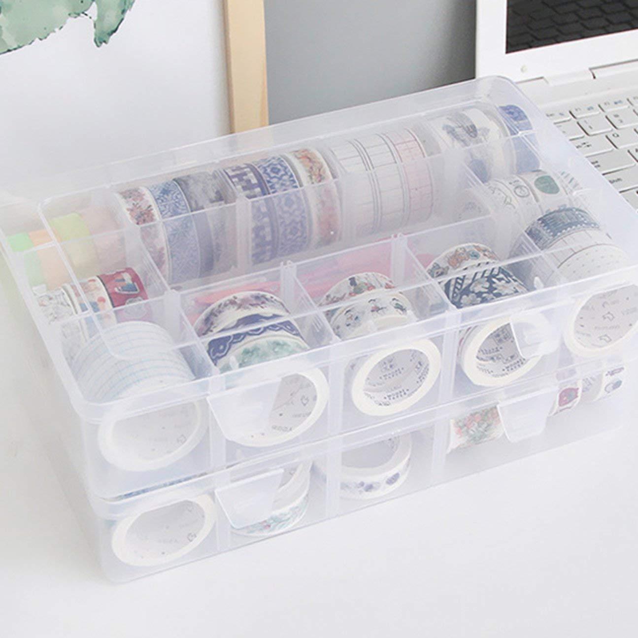 transparent HIPENGYANBAIHU 15 Grids Desktop Tape Aufbewahrungsbox Mini Papier Sticker Tape Box transparente Kunststoffkoffer Handwerk Veranstalter Art Supplies