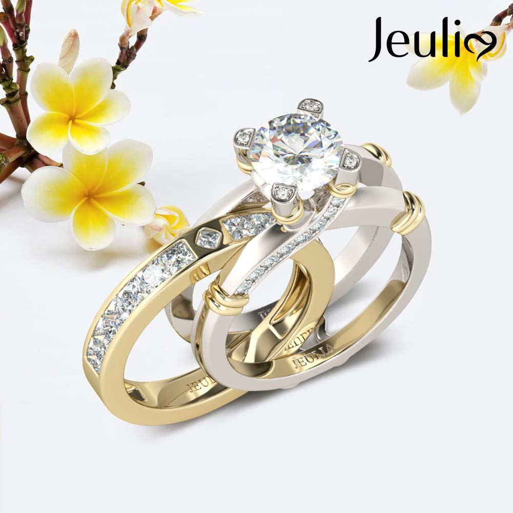 JEULIA Diamond Band Rings for Women cz Sterling Silver Interchangeable Ring Sets Wedding Engagement Anniversary Promise Ring Bridal Sets