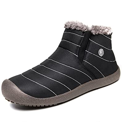 Womens Winter Fur Snow Boots Warm Sneakers Size 9.5 Grey Gray