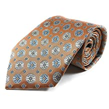 Bronze Orange with Light Steel Blue and Beige Talisman Pattern Woven Necktie