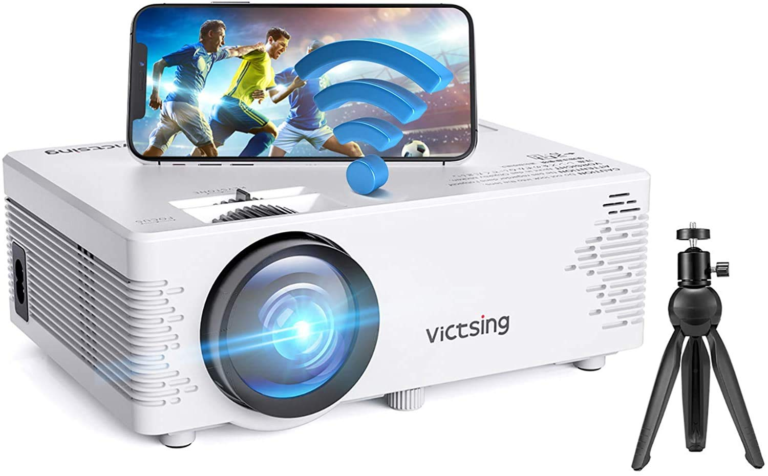 VicTsing WiFi Projector, 4200L Wireless Bluetooth Mini Projector with Tripod, 1080P 170'' Display Supported, Compatible with TV Stick, PS4, DVD, Portable Projector for Home Entertainment