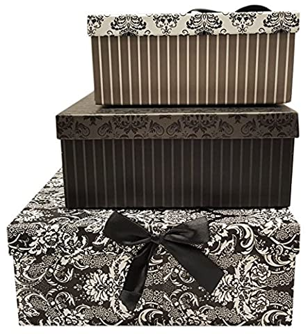 Alef Elegant Decorative Themed Nesting Gift Boxes -3 Boxes- Nesting Boxes Beautifully Themed and Decorated - Perfect for Gifts or Simple Decoration Around the House! (Flower Pattern & - Flowers And Gifts