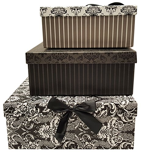 Alef Elegant Decorative Themed Nesting Gift Boxes -3 Boxes- Nesting Boxes Beautifully Themed and Decorated - Perfect for Gifts or Simple Decoration Around the House! (Flower Pattern & Bow)