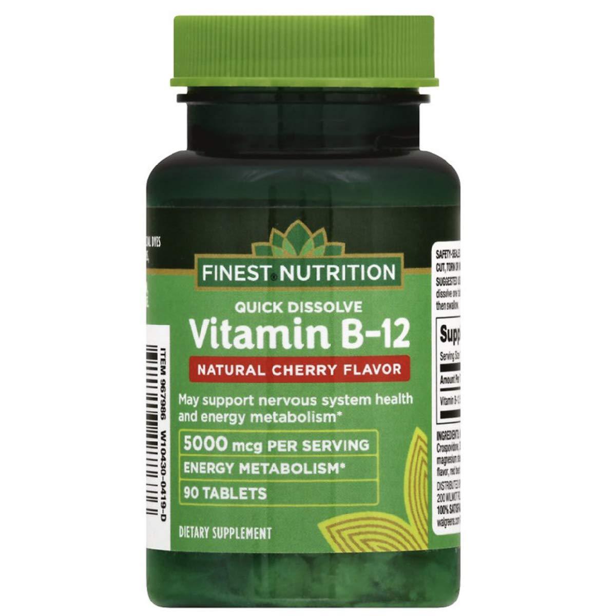 Finest Nutrition B-12 5000mcg, Quick Dissolve Tablets, Cherry 90 ea, New Design