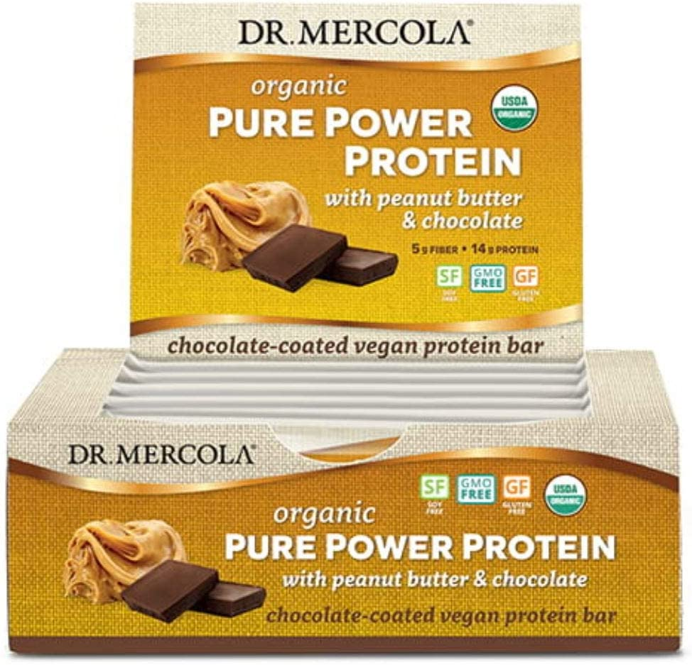 Dr. Mercola Pure Power Peanut Butter Protein Bars, 12 Servings, Non GMO, Soy Free, Gluten Free, Vegan Protein Bars