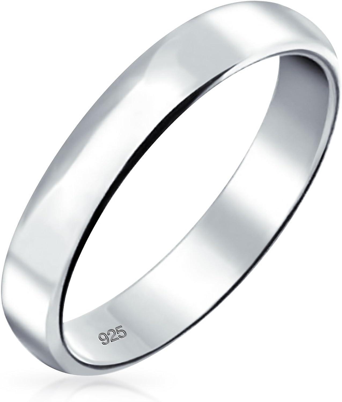 Plaine Minimaliste Simple En Argent Bague D/ôme Des Couples De Mariage Pour Femme Homme 4MM