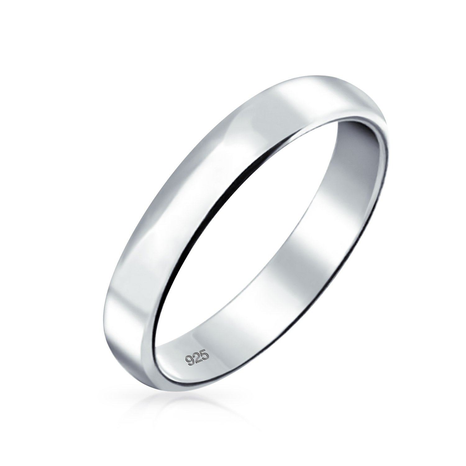 Minimalist Plain Simple 925 Sterling Silver Dome Couples Wedding Band Ring For Women For Men 4MM by Bling Jewelry