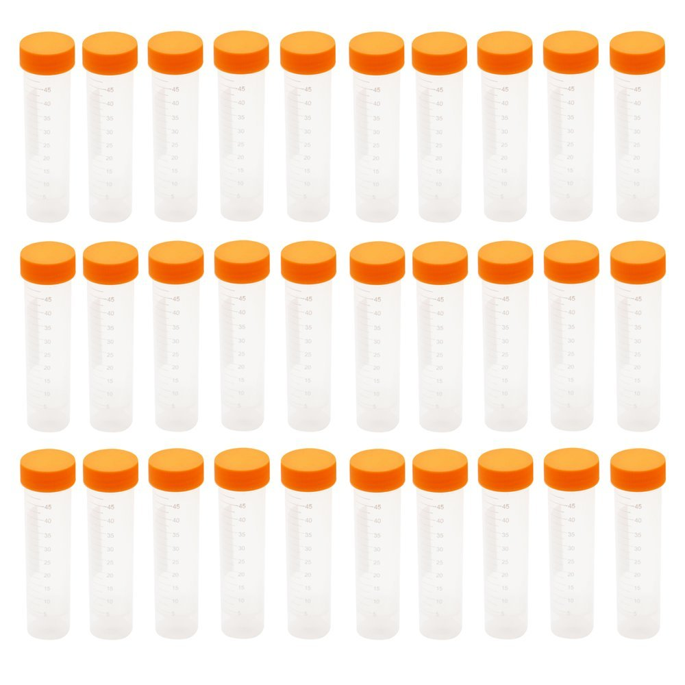 Eowpower 30pcs 50ml Flat Bottom Plastic Graduated Vial Storage Container Test Tubes for Laboratory Lab by Eowpower