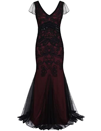d4bed84c5730 kayamiya Women's 1920s Gown Maxi Long Mermaid Formal Evening Prom Dress  with Short Sleeve S Burgundy at Amazon Women's Clothing store: