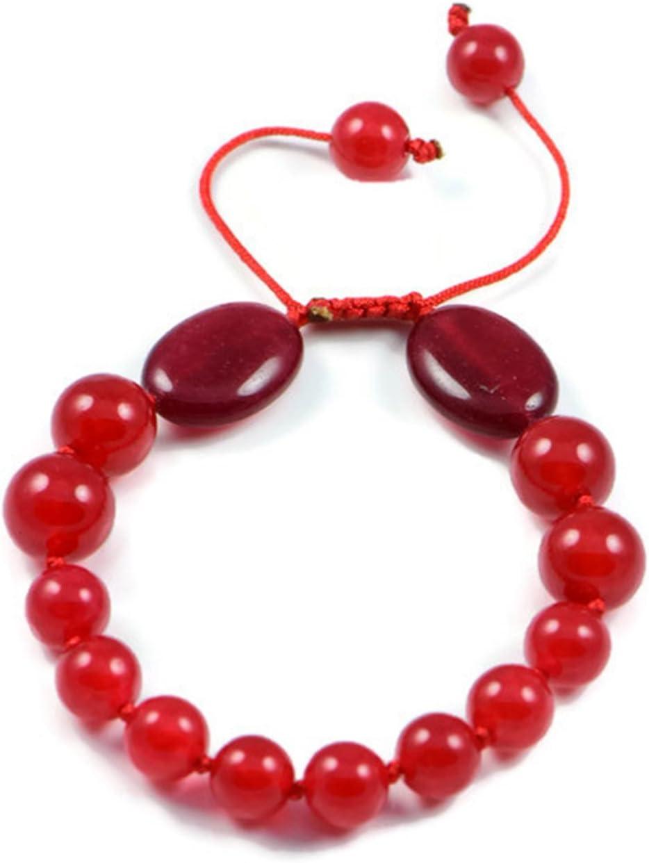 AqBeadsUk Classic Semi-Precious 8-10mm Redondo 12x18mm Oval Piedras preciosas Red Ruby Beads 7.5 pulgadas Cerrado 10.5 pulgadas Abierto Lujo pulsera anudada a mano de las mujeres