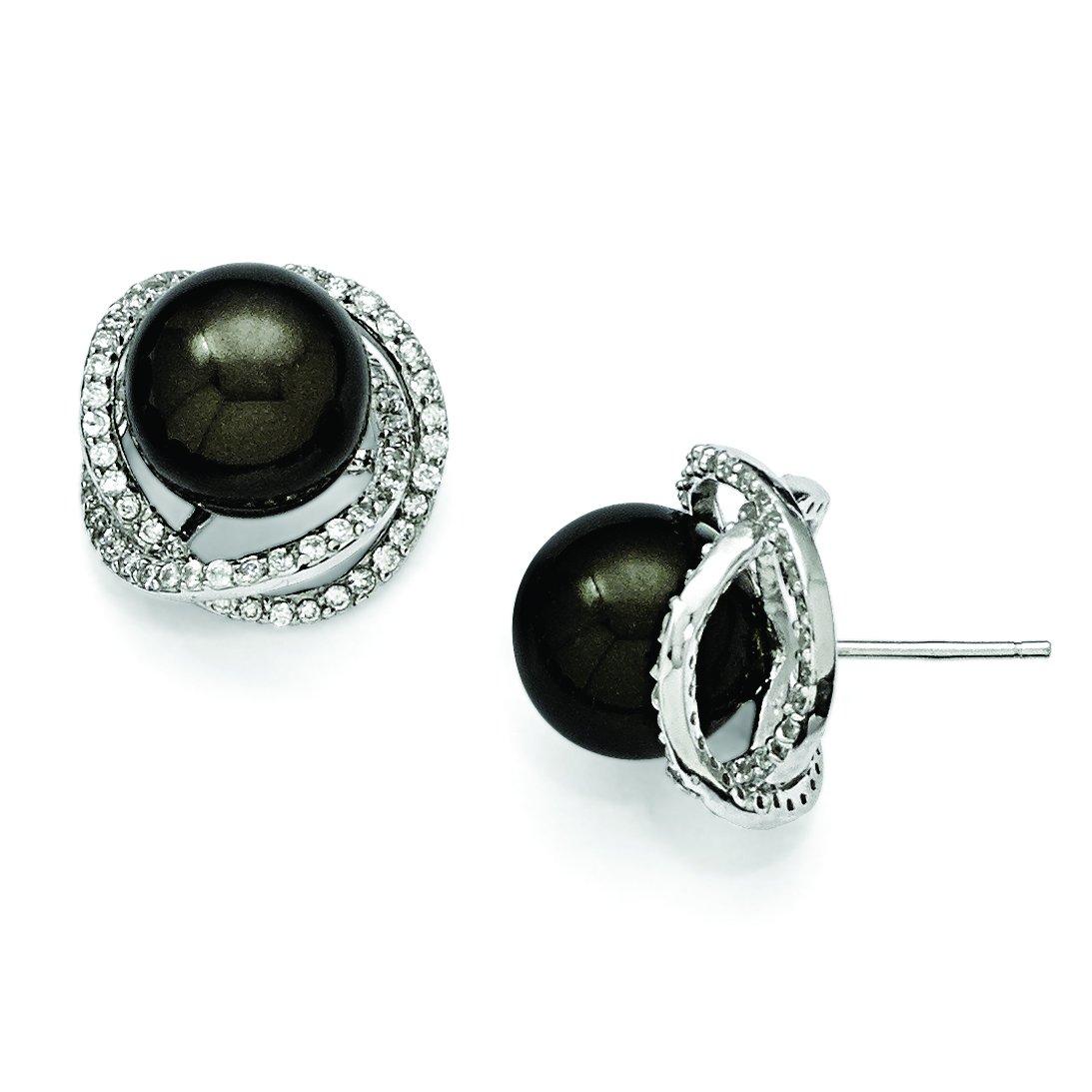 ICE CARATS 925 Sterling Silver Majestik 11mm Black Shell Bead Cubic Zirconia Cz Post Stud Ball Button Earrings Fine Jewelry Gift Set For Women Heart