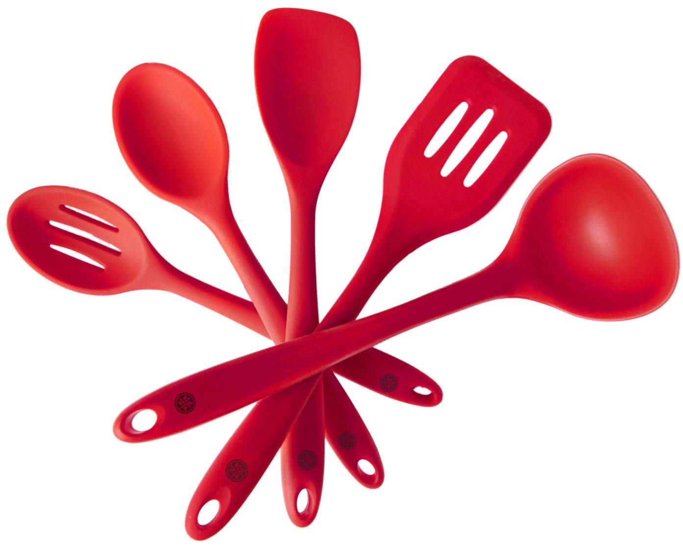 "StarPack Basics Range Silicone Kitchen Utensil Set (5 Piece Set, 10.5"") in FDA Grade + Bonus 101 Cooking Tips - Cherry Red"