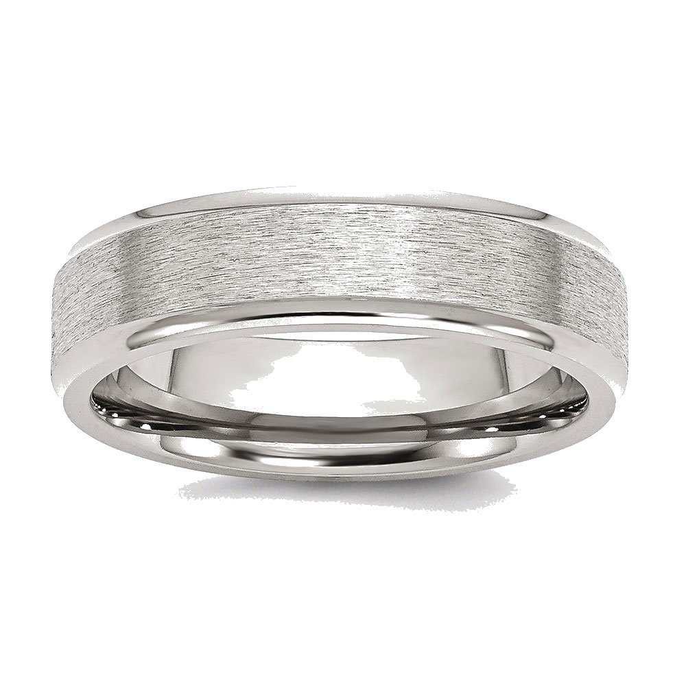Mens Stainless Steel Ridged Edge Satin and Polished Wedding Band Ring