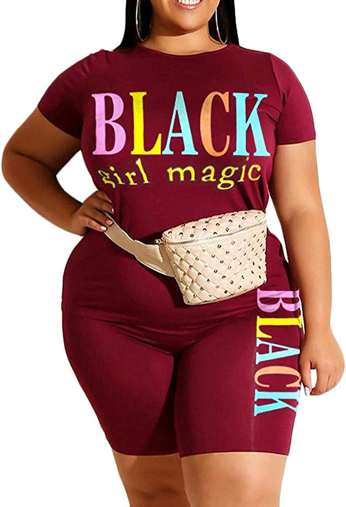Stretchy Two Piece Outfit Plus Size T Shirt Tops Shorts Joggers Plus Size Short Sets