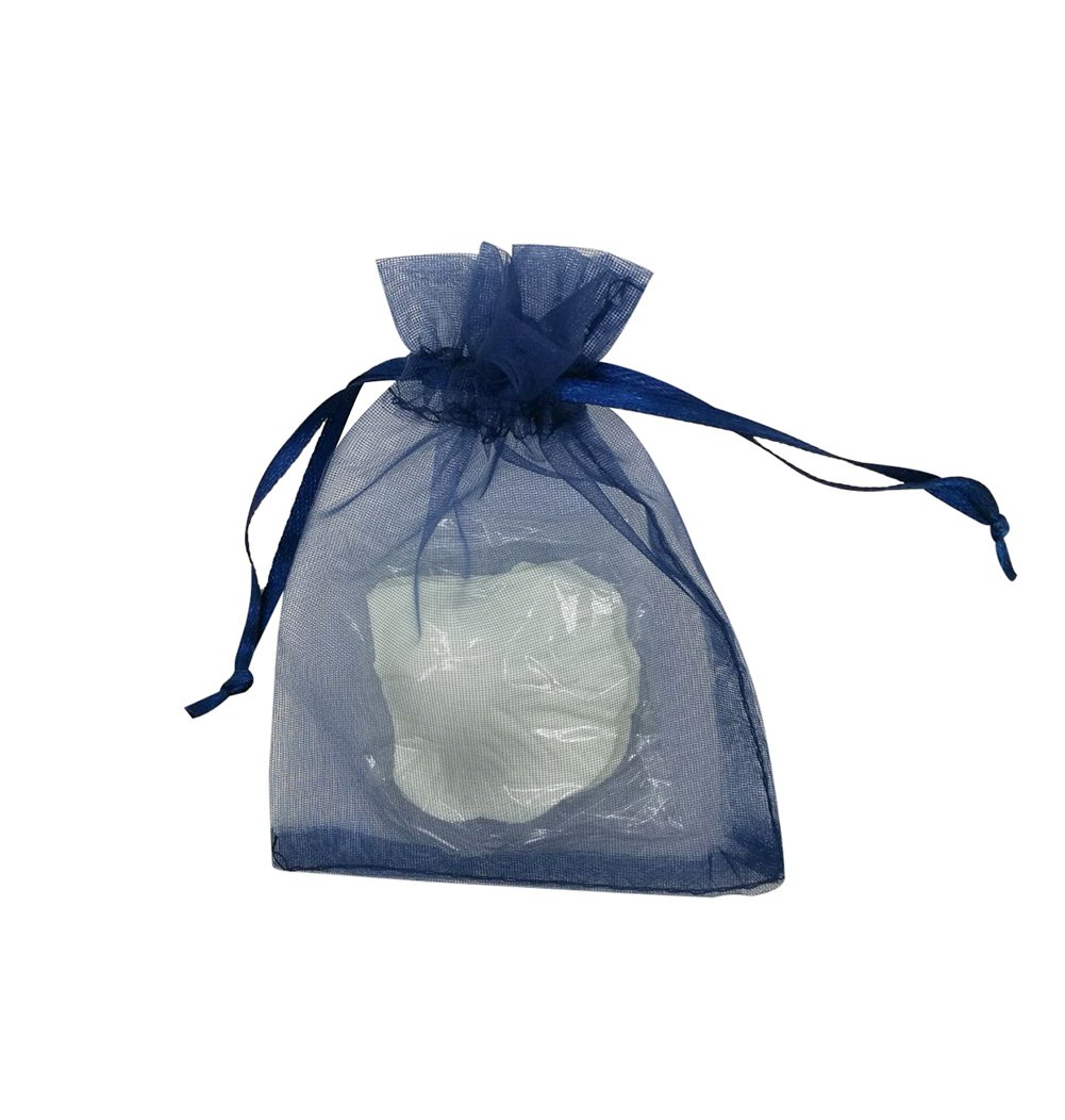 SUNGULF 100Pcs Sheer Organza Drawstring Pouches Wedding Gift Bags 3x4 Inches (Navy Blue)