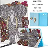 Newshine Galaxy Tab E 9.6 Case, Lightweight Magnetic Closure Case with Card Solts/Cash Holder for Samsung Galaxy Tab E 9.6 inch SM-T560 (Elephant&Flower)